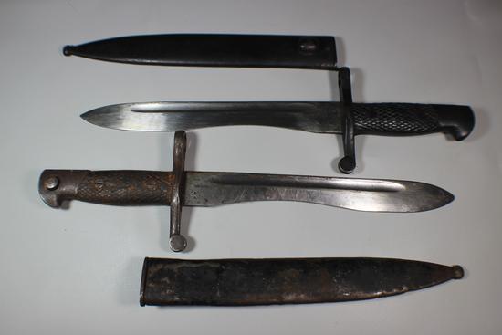 Lot of 2 Spanish WW2 Mauser Bolo Bayonets.  Toledo. Checkered Handle.