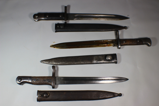 Lot of 3 WW2 Era Turkish M1935 M35 Bayonets.  All W/ Scabbards. Used Condition.
