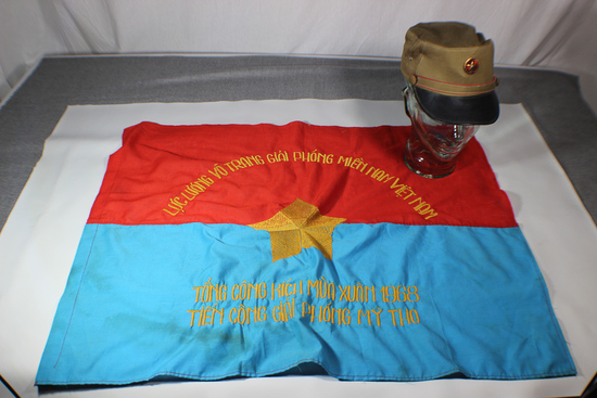 North Vietnamese Flag & Field Cap.