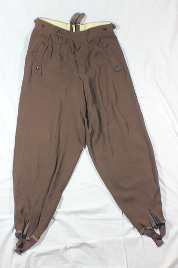 WW2 Italian Made Brown Gabardine Pantaloons. Size Marked 46. NSKK/Hitler Youth