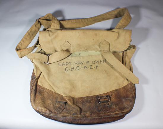 US WW1 Mussette Bag Knapsack. Named A.E.F. Headquarters Officer.