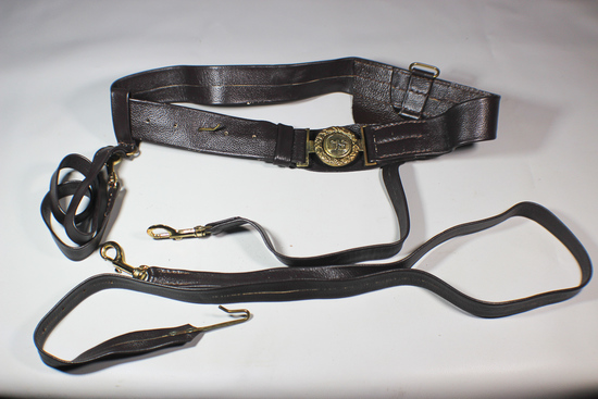 Older Reenactor's CSA Confederate Officer's Leather Belt, Sword Hanger, and Rifle Sling.