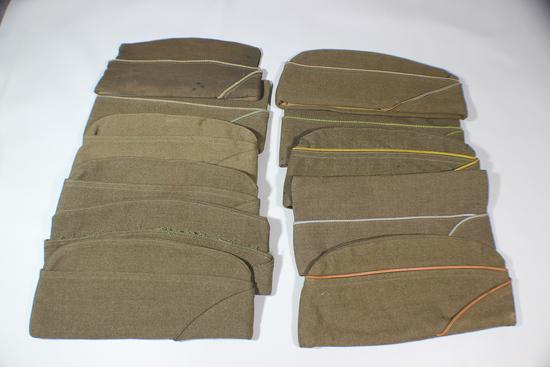 US WW2 Lot of 11 OD Green Wool Overseas Garrison Caps