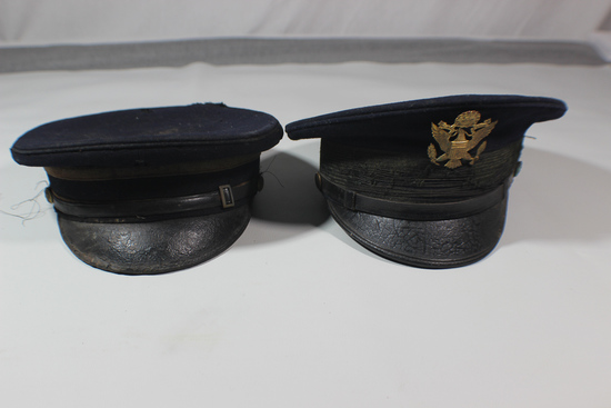 Lot of 2 US Spanish American War Army Visor Caps. 1 Enlisted. 1 Officer.