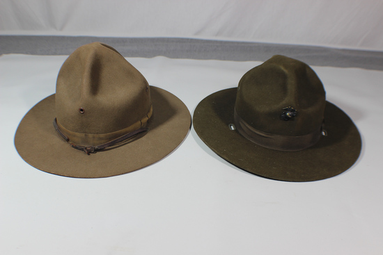 Lot of 2 US WW2 Era Campaign Hats.  USMC Drill Instructor & Army.