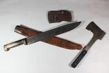Early Cast Steel Sheffield Hunting Knife W/ Horn Handle & Unmarked Hatchet.