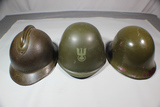 World Helmet Lot of 3 WW2 French, Post War Polish, & Unknown Composite(Possibly Swedish).