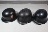 Lot of 3 WW2 German Civil Police, Fire Police, & Luftschutz Helmets.