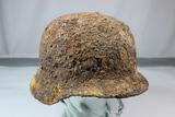 WW2 German M35 or M40 Ground Dug Combat Helmet. Heavy Soil. Great Look.