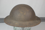 US WW1 Helmet With Liner.  Captain's Rank Bars Painted On Front.  Missing Chinstrap.