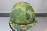 US Vietnam M1 Front Seam Combat Helmet W/ Liner &  Mitchell Cover. Very Nice.