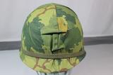 US Vietnam War Era M1C Airborne Paratrooper Jump Helmet W/ Liner & Mitchell Cover.
