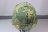 US Vietnam War Era M1C Airborne Paratrooper Jump Helmet W/ Liner & Mitchell Cover. 1974 Dtd.