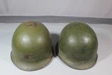 Lot of 2 US Korean War Or Vietnam M1 Helmet Shells. Rear Seam Swivel Bale. No Liners.