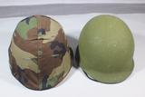 Lot of 2 US Vietnam Era Rear Seam Swivel Bale M1 Combat Helmets W/ Liners.