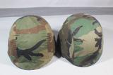 Lot of 2 US Desert Storm Era Kevlar PASGT Helmets. Both Complete.