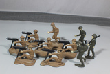 Lot of 10 Heavy Solid Cast Lead Toy Soldiers. Unmarked.