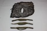 Lot of 3 Canvas Airborne Chinstraps & 1 Helmet Net.