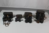 Lot of 4 Pre WW1 French Binoculars. Paris. W/Cases