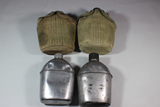 Lot of 4 US WW2 Canteens. 2 With Covers. 2 Without.