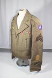 US WW2 3rd Army Ike Jacket. Collar Brass. Service Stripes. Ribbon Bar.