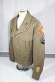 US WW2 45th Infantry Division Ike Uniform Jacket.  Early Wool Felt Patch. 6 Overseas Stripes.