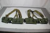Lot Of 2 US Vietnam Reenactor Rifleman's Ammunition Belts.  Original Suspenders.