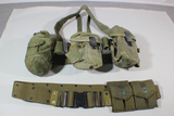 Lot Of 2 US Vietnam & Later Pistol Belt Sets W/ Pouches, Suspenders, Canteen, & Magazine Pouches.