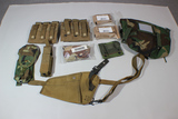 Lot of Coyote & Woodland Molle Gear. Bandages, Holster, Ka-Bar Adapter, Magazine Pouches, Butt Pack.