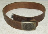 Hitler Youth Brown Leather Belt W/Modified Steel Buckle By Assmann