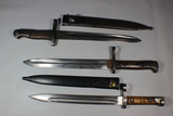 Lot of 3 WW2 Era Turkish Mauser Bayonets.  1 Is Missing Scabbard!~