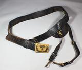 US Pre WW1 Army Officer's Leather Sword Belt W/ Hangers & Buckle