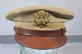 Super Nice US WW2 Army Officer's Khaki Bancroft Visor Cap. Named. Great Look.