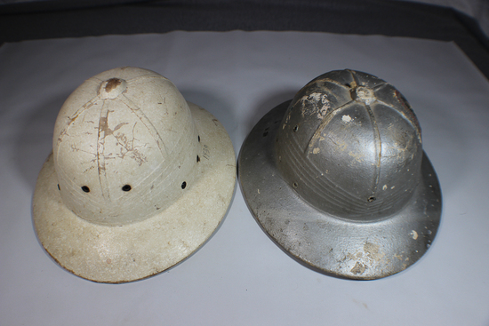 Lot of 2 US WW2 Sun Pith Helmets. District of Washington Civil Defense & Scarce White HAWLEY.