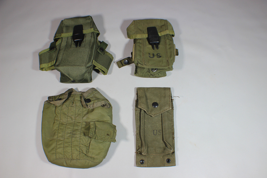 Nice Lot of 3 US Vietnam War Magazine Pouches & Canteen Cover.
