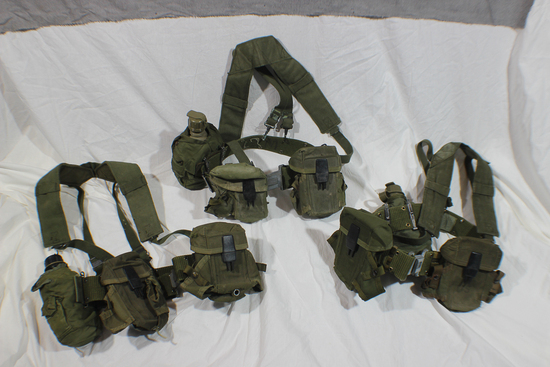 Lot of 3 US Vietnam Era Rifleman's Belts W/ Suspenders & Various Kit.