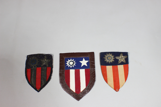 US WW2 Army Air Force CBI China Burma India Lot of 3 Theater Made Patches. Leather, Bullion, Silk.