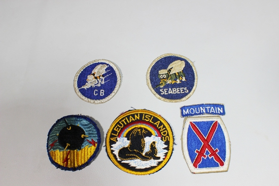US WW2 Lot of 5 Navy Patches. Gemsco. Seabees!