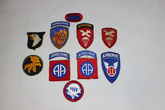 US WW2 Cut Edge Army Airborne Patch Lot. 12 Total. 101st, 17th, 82nd. Some Good Ones!