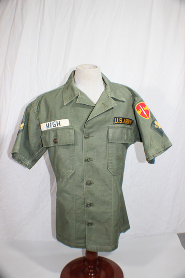 US Vietnam Military Assistance Group Fatigue Shirt. Short Sleeve. Theater Made Name Tape. Complete.