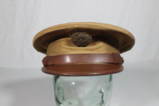 US WW2 Army Enlisted Khaki Visor Hat Cap. Unmarked. Pre War.