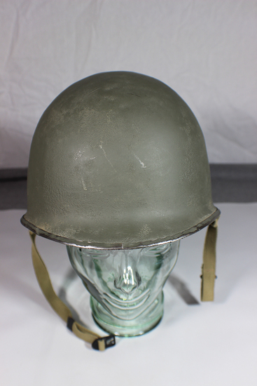US WW2 Front Seam Swivel Bale M1 Helmet W/ Liner. Refinished.