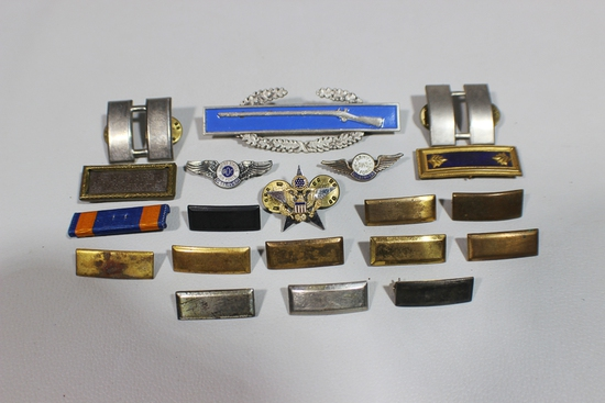 US WW2 Era Officer's Ranks, Wings, CIB, and Misc. Pins. Some Sterling.