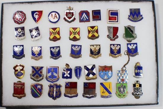 US WW2 Lot of 39 DI's DUI's Distinctive Unit Insignia Crests Pins.