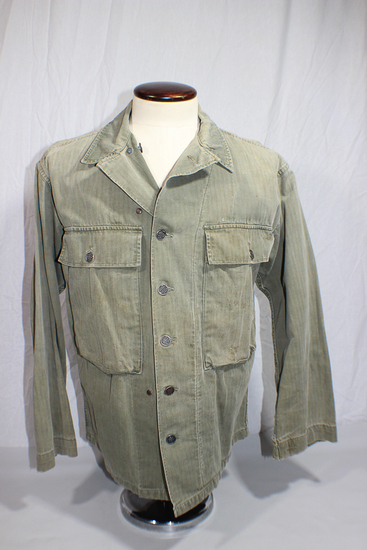 US WW2 HBT Herringbone Twill Combat Utility Jacket. 13 Star Metal Buttons.
