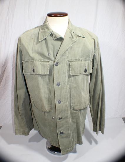 US WW2 Herringbone Twill Combat Utility Jacket W/ 13 Star Black Steel Buttons