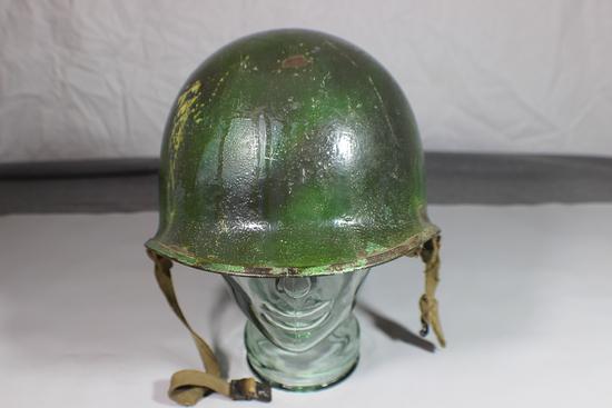 US WW2 Front Seam Swivel Bale M1 Helmet W/ Liner. IDENTIFIED.