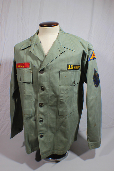 US WW2 HBT Herringbone Twill Combat Utility Jacket. Some Replaced Buttons. Korean War Reissue.