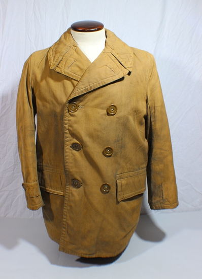 US WW2 British Made Enlisted Man's Mackinaw Field Jacket.  Nicely Worn. Former Patch Jacket.