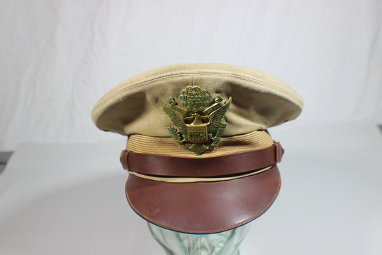 EXCEPTIONAL US WW2 Army Air Corps Officer TRUE Crusher Visor Cap. By The Flight Weight.